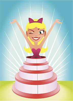 蛋糕,女孩,生日蛋糕,绘画插图,人体,女士内衣,生日,卡通,惊奇,人的眼睛