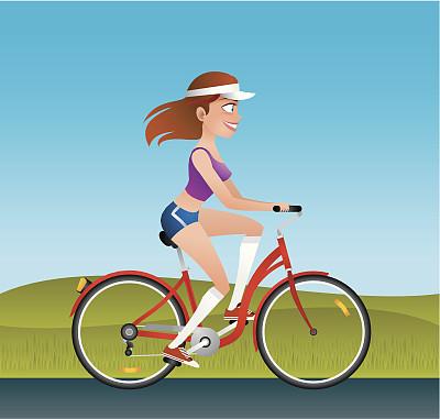 骑自行车,女孩,女人,迅速,车轮,时装模特,绘画插图,时尚,自行车,脚踏车