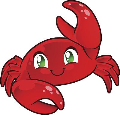 绿色眼睛,螃蟹,可爱的,红色,sally lightfoot crab,绘画插图,水下,卡通,十二宫图,彩色图片