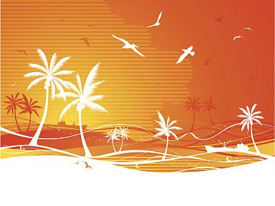 背景,鸡尾酒,水,美,气候,客船,形状,绘画插图,鸟类,夏天