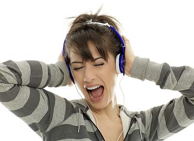 耳机,运动竞赛,女孩,留白,仅成年人,青年人,运动,彩色图片,放音设备,信心
