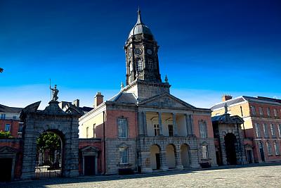 贝德福德塔,都柏林城堡,诺曼风格,大约13世纪,爱尔兰都柏林,了望塔,纪念碑,水平画幅,无人,夏天