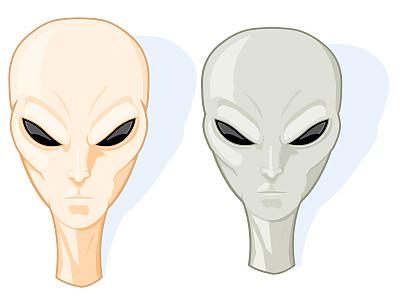外星人,坏人,灰色,绘画插图,剪贴画,白色背景,背景分离,超自然,彩色图片,空间探索