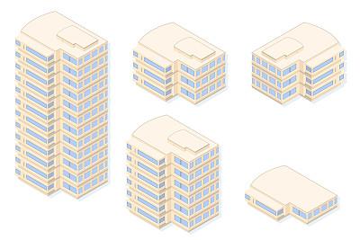 办公大楼,顶楼公寓,办公室,工作场所,无人,绘画插图,居住区,金融建筑,彩色图片,矢量