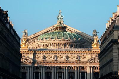 建筑,巴黎,巴黎歌剧院,歌剧,美术雕像,天空,留白,水平画幅,无人,户外