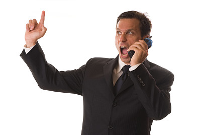 电话机,男商人,白色背景,做手势,分离着色,不耐烦的,经理,男性,仅男人,仅成年人