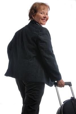 女商人,随身行李,轮式行李,车轮,白色背景,套装,行李,仅成年人,专业人员,仅一个中老年女人