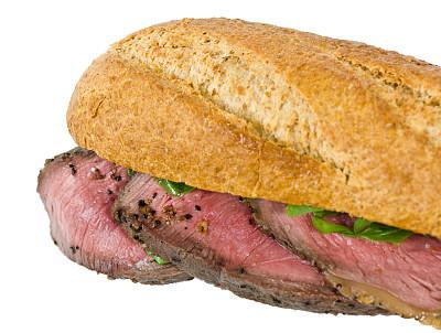 牛胸肉,牛肉,三明治,烤牛肉三明治,法式长棍面包,水平画幅,无人,膳食,法式食品,特写