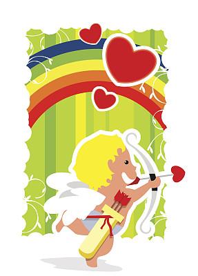 小天使,射箭弓,绘画插图,动物身体部位,彩色图片,彩虹,一见钟情,儿童,矢量,二月