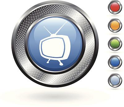 矢量,金属质感,电视机,按钮,电视天线,看电视,留白,洞,银色