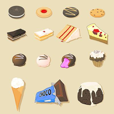 不健康食物,果酱曲奇,柠檬慕斯,巧克力酥皮松饼,消化饼,圣诞布丁,黑森林蛋糕,柠檬乳酪蛋糕,姜味小脆饼,蛋白棒