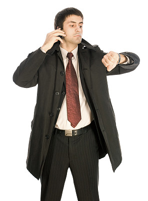 男商人,核对时间,垂直画幅,电话机,时间,男性,仅成年人,青年人,专业人员,看