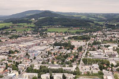 萨尔茨堡,城市,都市风景,顶部,自然,水平画幅,绿色,建筑,无人,路