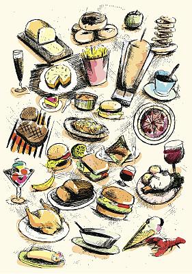 食品,背景,葡萄酒,冰淇淋,绘画插图,无人,蛋糕,精制土豆,摇滚乐,啤酒
