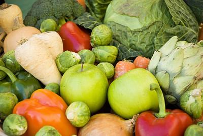 水果,蔬菜,荷兰防风草,朝鲜蓟,胡萝卜,水平画幅,绿色,橙色,十字花科