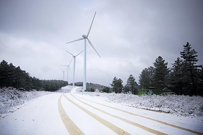 冬天,风力发电站,风速计,变电所,天空,风,气候,水平画幅,能源,雪