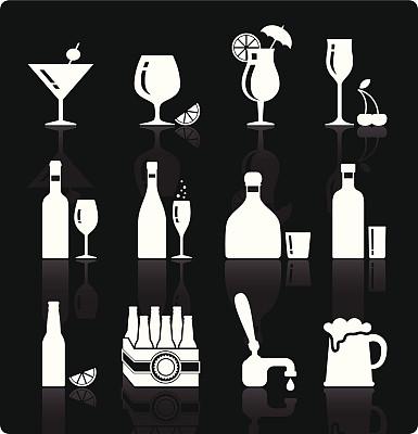 饮料,矢量,图标集,小酒杯,墨西哥日出,鸡尾酒,特其拉,葡萄酒,绘画插图,符号