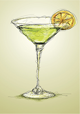 鸡尾酒,不完全的,绿色,无人,绘画插图,潦草,含酒精饮料,饮料,柠檬,彩色图片