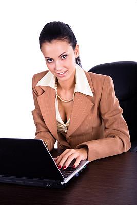 女商人,平衡折角灯,注视镜头,垂直画幅,美,笔记本电脑,美人,白人,青年人,专业人员