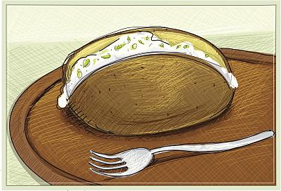 烘锫土豆,绘画插图,无人,膳食,精制土豆,乡村风格,开胃酱,细香葱,彩色图片,酸奶油