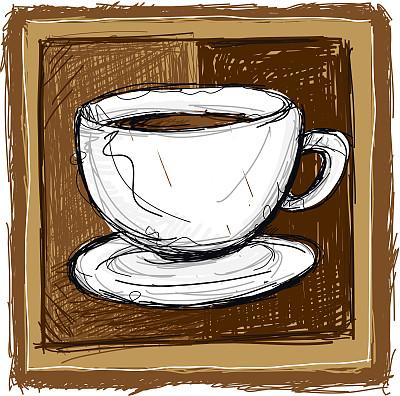 咖啡,杯,绘画插图,不完全的,褐色,无人,浓咖啡,饮料,热,彩色图片