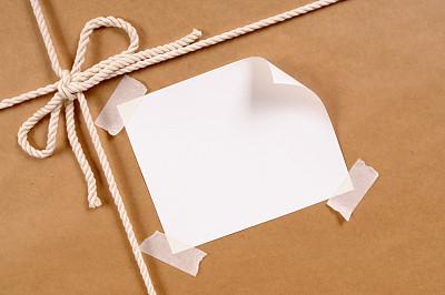 牛皮纸,标签,卷着的,空白的,留白,褐色,水平画幅,无人,盒子,线绳