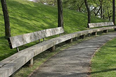 格兰福岛,山,小路,长椅,温哥华,草原,自然,水平画幅,无人,草坪