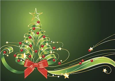 圣诞树,缎带,绿色背景,留白,水平画幅,无人,蝴蝶结,绘画插图,计算机制图