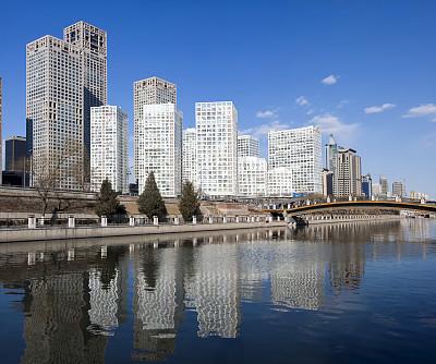 北京cbd,从南路,朝阳区,拱桥,水,天空,留白,新的,水平画幅,无人