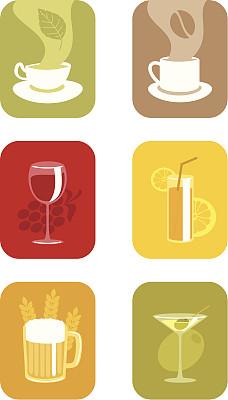 饮料,葡萄酒,无人,绘画插图,符号,玻璃,鸡尾酒,含酒精饮料,果汁,咖啡