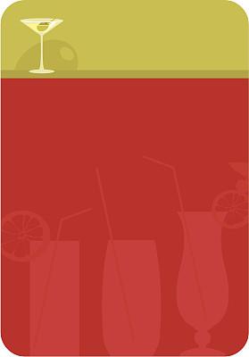 鸡尾酒,菜单,留白,无人,绘画插图,玻璃杯,含酒精饮料,饮料,马提尼,橄榄