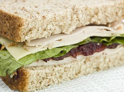 奶酪,火鸡肉,蔓越桔,三明治,切片食物,波士顿黑面包,哈瓦蒂,火鸡胸,选择对焦,水平画幅