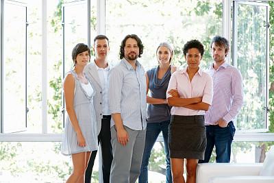 全球通讯,集体照,办公室,30到39岁,领导能力,水平画幅,人群,白人,非裔美国人,男商人