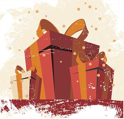 盒子,礼物,彩色图片,无人,绘画插图,复古风格,布告,古典式,矢量,背景