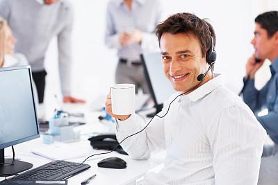 工间休息,职业,水平画幅,公司企业,注视镜头,服务业职位,商务关系,白人,男商人,咖啡