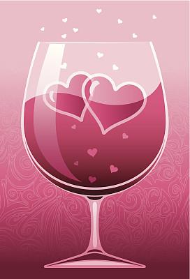 葡萄酒,淡红葡萄酒,垂直画幅,无人,绘画插图,符号,玻璃,含酒精饮料,饮料,我爱你
