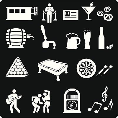 夜晚,矢量,图标集,芭蕾扶手,黑色背景,自动点唱机,看门人,绳栏,圆靶,桌球台