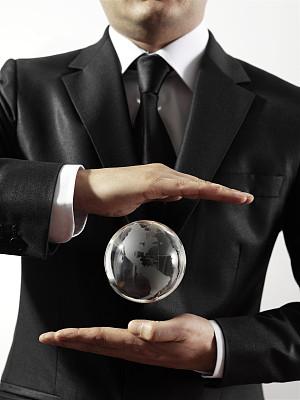 地球形,手,了如指掌,捧着,未来,储蓄,套装,男商人,仅男人,仅成年人