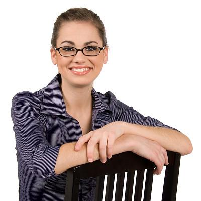 青年女人,自然美,正面视角,美,留白,美人,白人,特写,仅成年人,眼镜