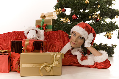 美,水平画幅,快乐,人,白人,圣诞礼物,青年女人,红色,青年人