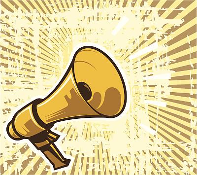 古老的,扩音器,橙色,消息,无人,会议,抽象,运动模糊,公告信息,卡通
