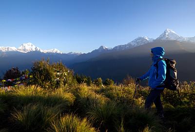 女人,山脉,喜马拉雅山脉,从上面看过去,南安娜普纳峰群,鱼尾峰,安纳普纳生态保护区,安娜普娜山脉群峰,登山杖,天空