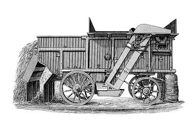 雕刻圖像,蒸汽,19世紀,制造機器,打谷,繪畫插圖,干草,古董,水平畫幅,農業機器