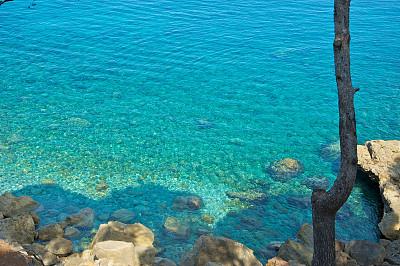 水,马略卡,蓝色,水湾,自然,天空,美,水平画幅,地形,岩石