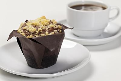 松饼,巧克力酥皮松饼,全貌,正面视角,褐色,水平画幅,无人,开胃品,平视角,白色背景