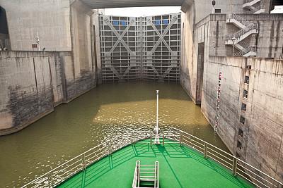 长江三峡,客船,上锁,水闸,运河水闸,长江,水力发电,水,水平画幅,货运
