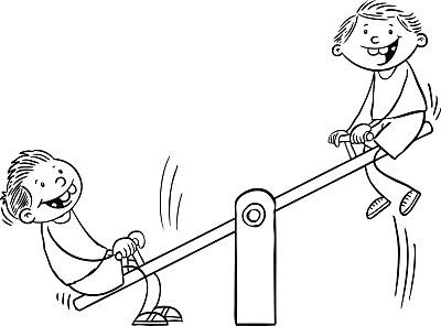 平衡,跷跷板,绘画插图,公园,休闲活动,进行中,卡通,童年,男孩,休闲游戏