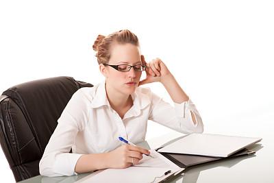 青年人,书桌,女商人,正面视角,半身像,面无表情,智慧,图像,经理,不看镜头