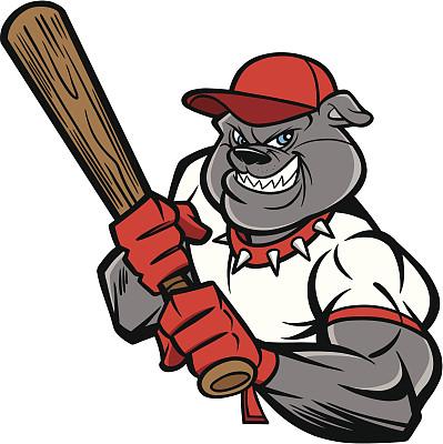 斗牛犬,棒球运动员,全垒打,棒球棒,棒球手套,棒球棍,绘画插图,性格,卡通,运动