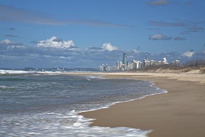 黄金海岸,冲浪者天堂海滩,水,度假胜地,水平画幅,沙子,旅行者,夏天,户外,都市风景